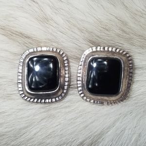 Dulce | Sterling Silver and Onyx Clip-on Earrings